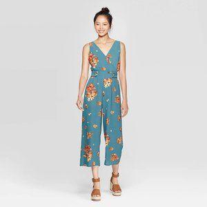 NEW Teal Floral V-Neck Wide Leg Jumpsuit S/XXL